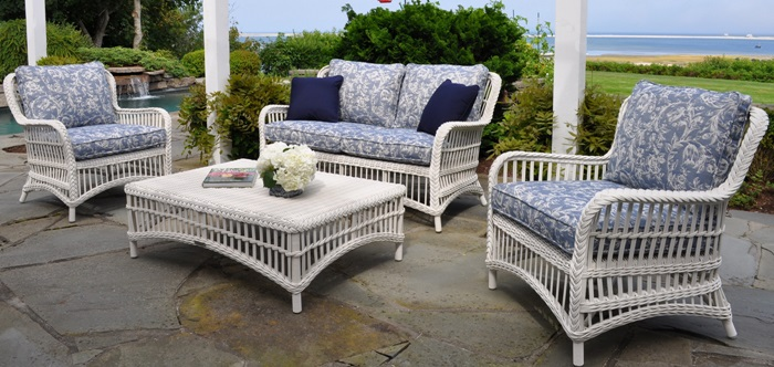 the chatham collection by kingsley bate with an open weave design and braided accents is the epitome of classic wicker styling - Kingsley Bate